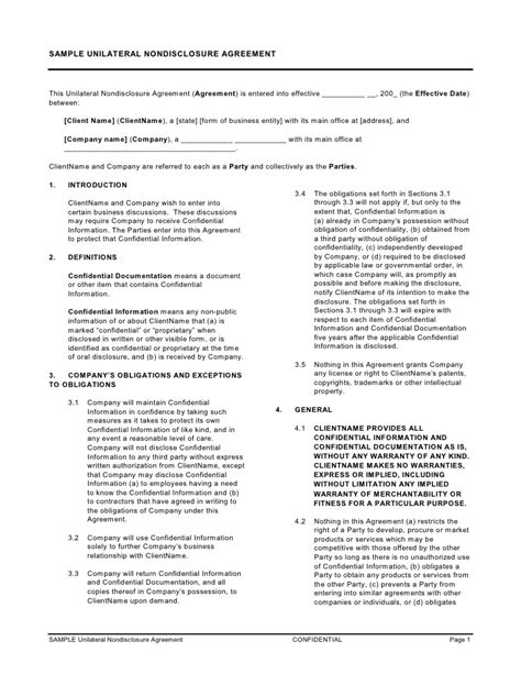 Sle Unilateral Nondisclosure Agreement Unilateral Confidentiality Agreement Template