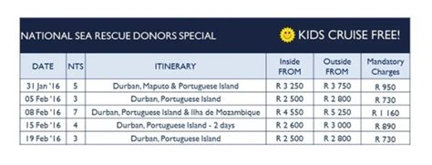 boat cruise in durban prices special deal cruises for nsri supporters nsri org za
