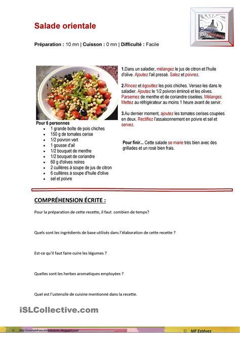 livre de cuisine fran軋ise en anglais on apprend le fran 231 ais recette de cuisine salade orientale
