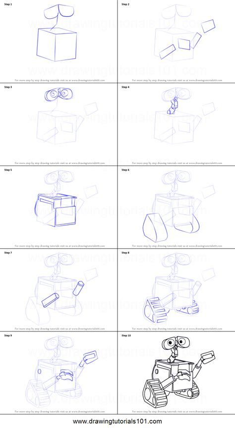 how to draw wall e printable step by step drawing sheet