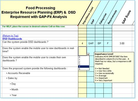 erp evaluation template software requirements checklist fit gap analysis