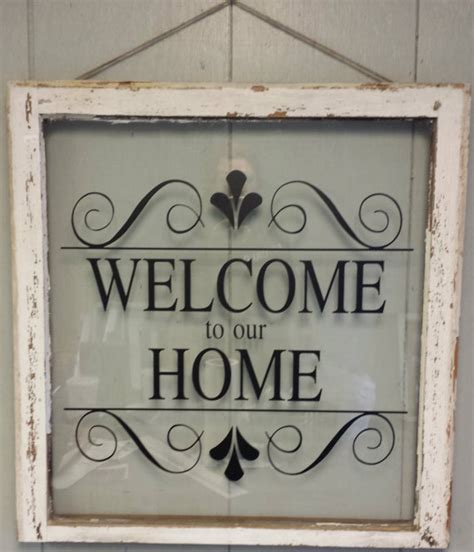 Personalized Signs For Home Decorating vintage single pane window personalized welcome to our