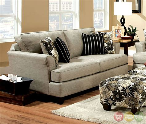 Cardiff Contemporary Light Gray And Floral Fabric Living Floral Living Room Sets