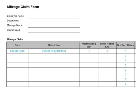 business expense mileage form template bizorb