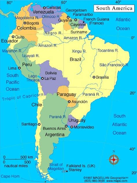south america map and capitals map of south american countries and their capitals