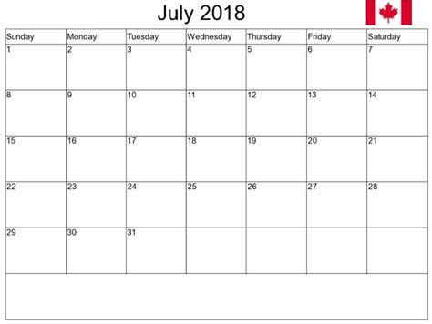 printable monthly calendar with canadian holidays july 2018 calendar canada calendar yearly printable