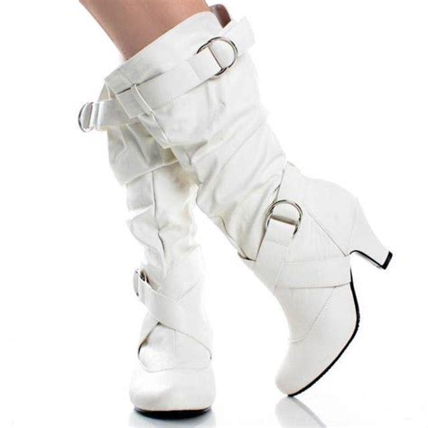 new womens mid calf faux leather white high heel