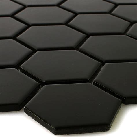 Fliese Hexagon by Keramik Mosaik Fliesen Hexagon Schwarz Matt Ebay