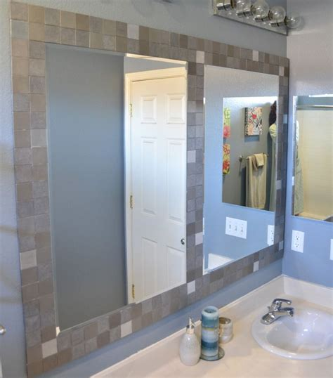 How Do You Frame A Bathroom Mirror Tile Framed Mirror Diy For The Home Pinterest