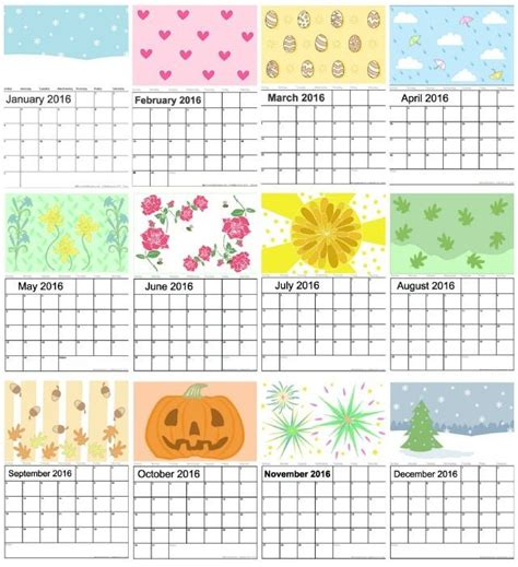 Calendar For Children Free 2016 Calendar For Adults And