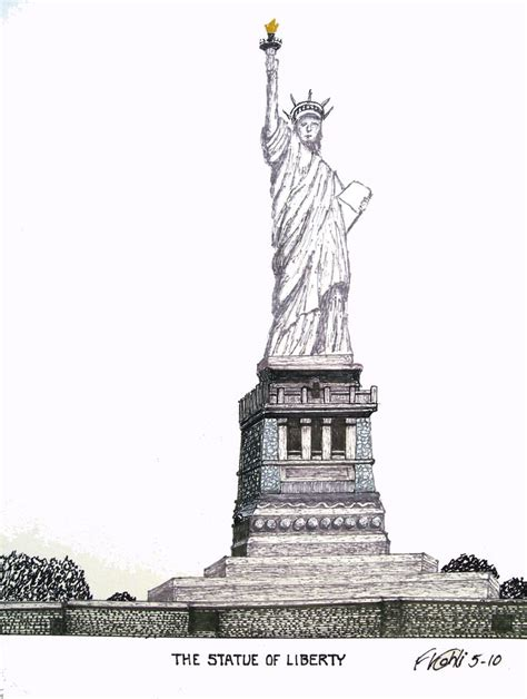 libro new york drawings statue of liberty pen and ink drawing by frederic kohli of the historic statue of liberty in