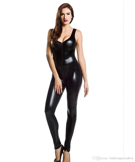Cat Time Black Leather 2018 top quality s black faux leather catsuit with
