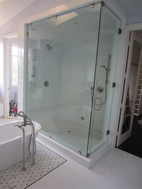 Large Shower by Large Frameless Glass Enclosure Patriot Glass And Mirror