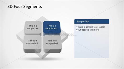 powerpoint themes greyed out 4 segments 3d diagrams with quadrant one in blue slidemodel