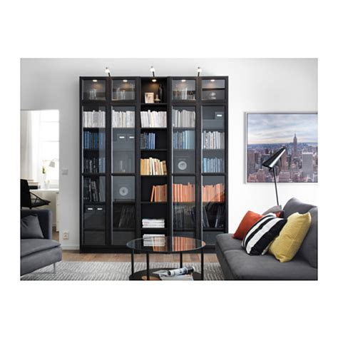 billy oxberg bookcase black brown 200x237x30 cm ikea