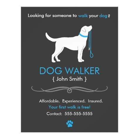 dog walker walking business flyer template zazzle