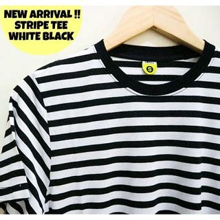 Kaos Polos Stripe ready stock promo shopee kaos stripe hitam putih