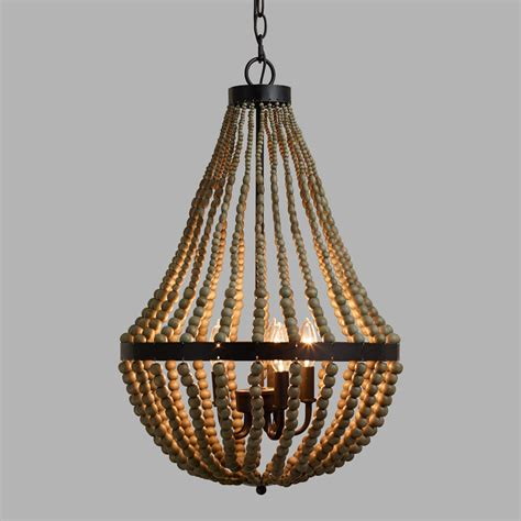 Beaded Wood Chandelier Small Wood Bead Chandelier World Market