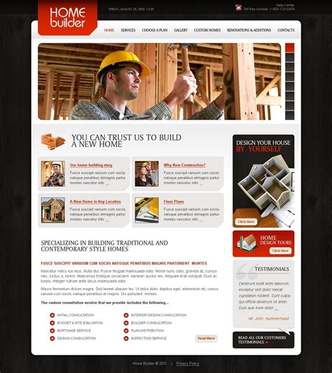 templates for construction website construction company website template 32614
