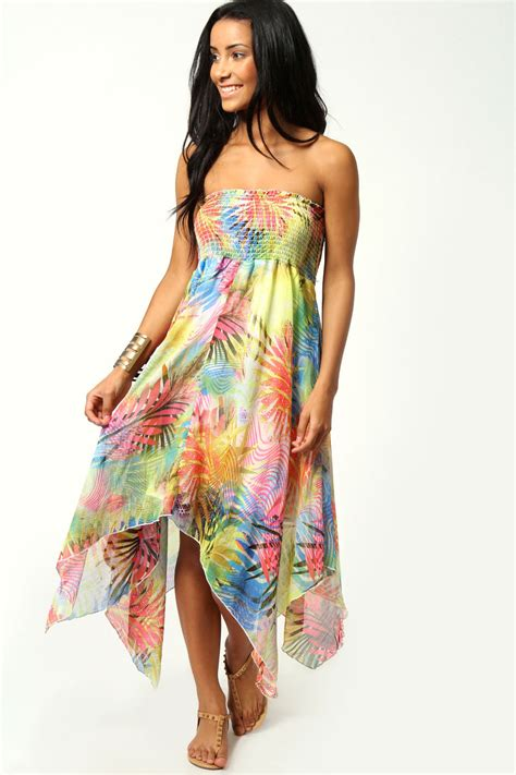 Tropical Dress neon tropical print chiffon dress from boohoo epic