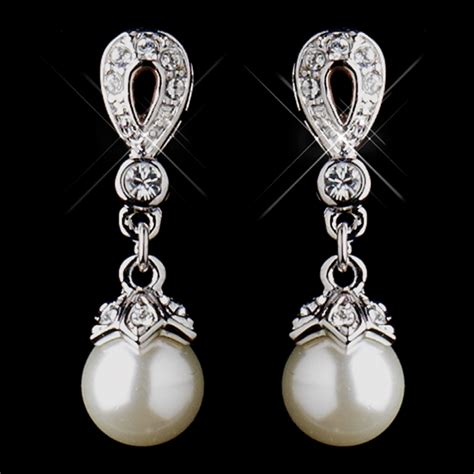 Ohrringe Hochzeit Silber by Stunning Silver Ivory Drop Pearl Wedding Earrings