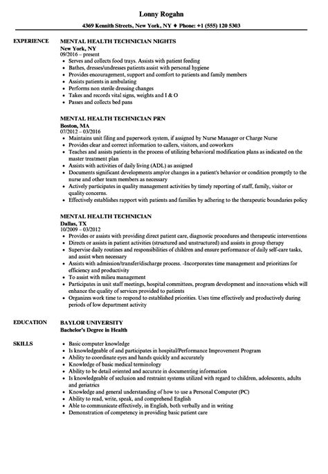 Mental Health Resume by Mental Health Technician Resume Sles Velvet