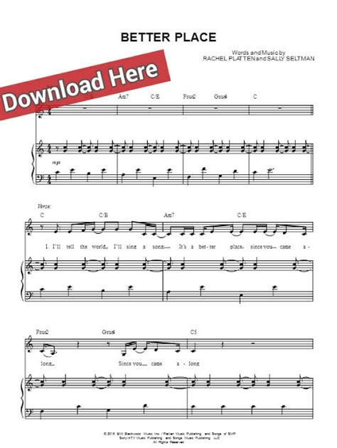 A Place Sheet Free Score Platten Better Place Sheet Piano Notes Chords