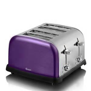 swan metallic 4 slice toaster purple homeware thehut