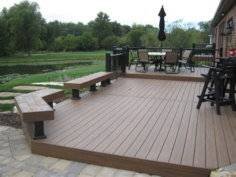 tech deck bench fort wayne timbertech deck with azek railing traditional