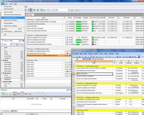 task spreadsheet software team project and daily work