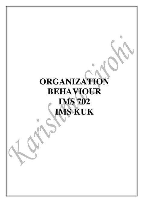 Organizational Behavior Mba Notes Pdf by Ob Notes For Mba
