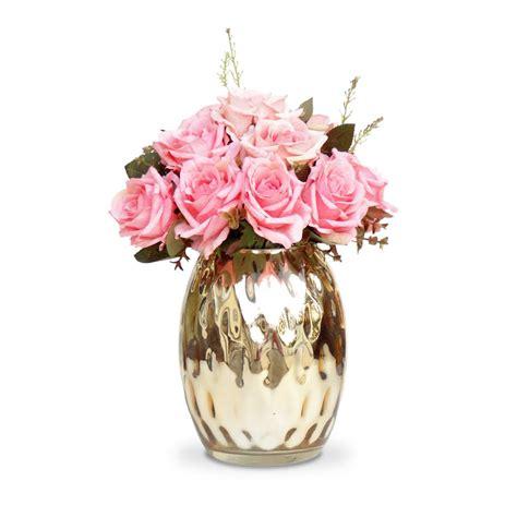 Fazer Plantas Online 100 seda vidro arranjo de flores artificiais rosas vaso