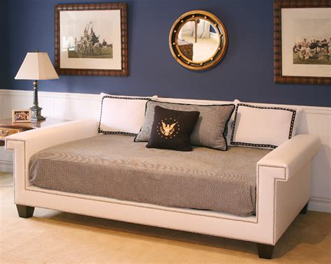 hudson day bed in fabric with polished nickel