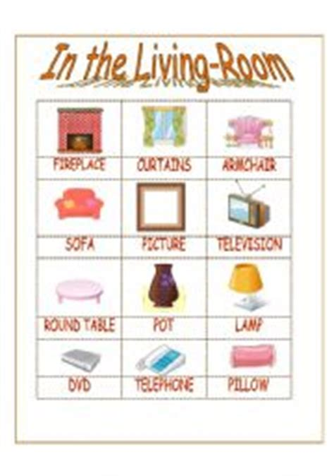 is livingroom one word worksheet in the living room vocabulary