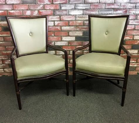 Barbara Barry Dining Chair Pair Of Button Back Mcguire Dining Chairs By Barbara Barry At 1stdibs