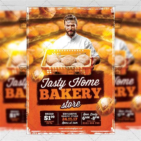 free bakery flyer templates tasty home bakery food a5 flyer poster template