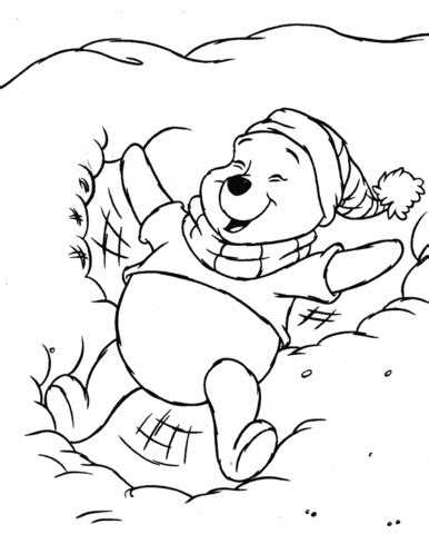 pooh in the snow coloring page supercoloring com
