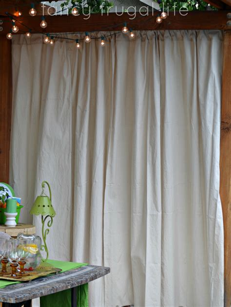 drop cloth curtains outdoor cabana patio makeover with diy drop cloth curtains