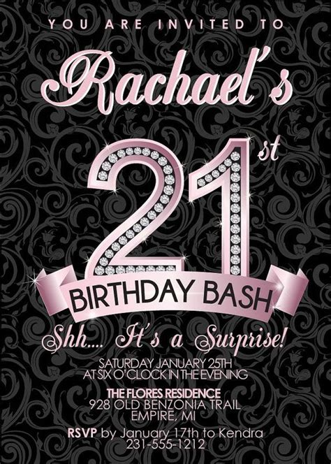 21st Birthday Invitation Adult Birthday Party Invitation Milestone Pink Diamond Adult 21st Birthday Card Templates Free