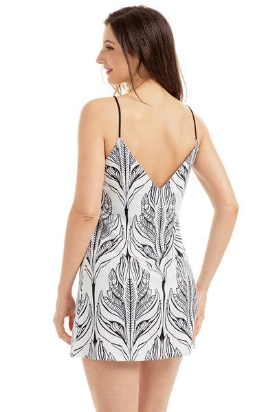 fashion white black plant print dress