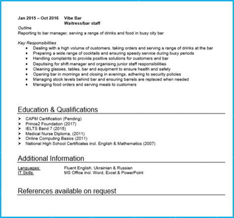 waiter cv sle uk waitress or waiter cv exle with writing guide and cv