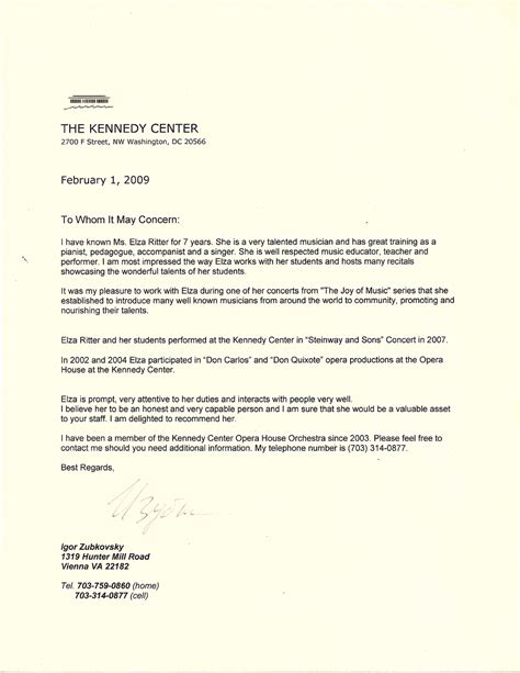 Reference Letter For Piano Reference For Elza Ritter From Igor Zubkofsky Kennedy