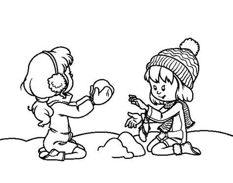 imagenes niños jugando en la nieve dibujo de ni 241 as jugando con la nieve para colorear