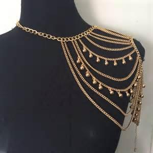 Shoulder Drape Necklace Copper Tassel Drape Necklace Body Chain Jewelry Harness