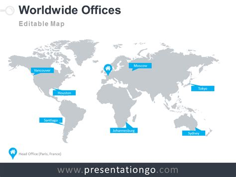 Worldwide Offices Powerpoint Worldmap Presentationgo World Map Template Powerpoint