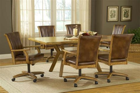 Kitchen Tables And Chairs With Wheels Rustic Leather Kitchen Dining Chairs Set For 6 With Wheels And Large Rectangle Table Decofurnish