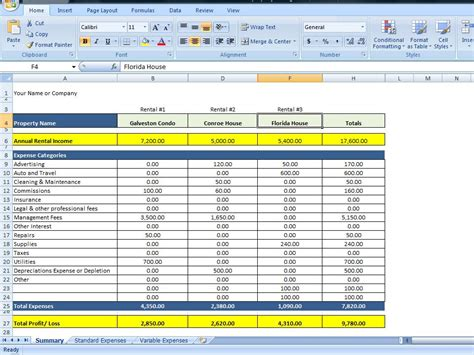 property template property management spreadsheet excel template for