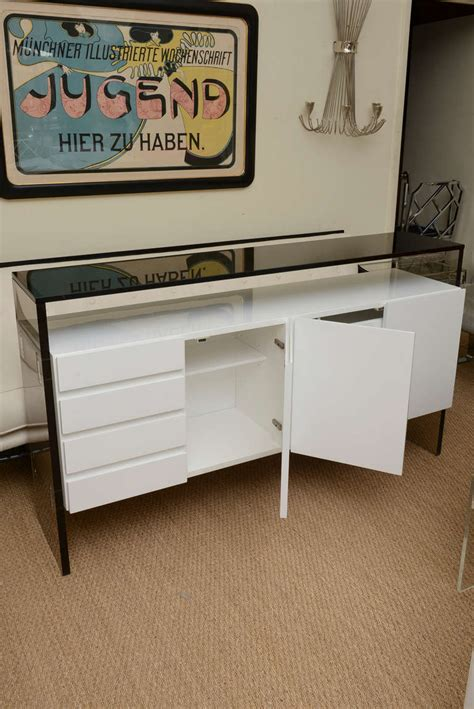 white lacquer buffet cabinet milo baughman white lacquered lucite and smoked glass
