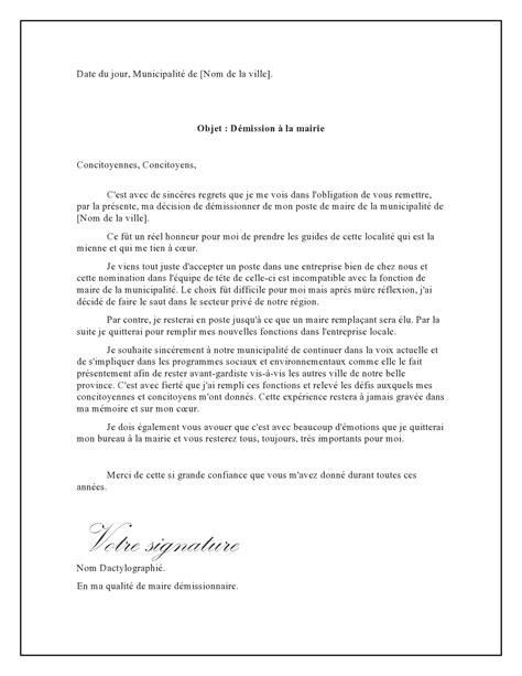 Exemple De Lettre De Demission Adjoint Au Maire Modele Lettre De Demission De Maire Document