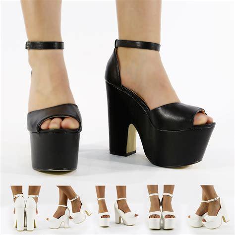 black platform chunky wedges high heels boot sandal shoe size 3 8 ebay